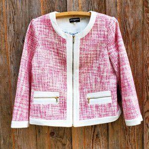 Karl Lagerfeld Paris Short Pink Tweed Blazer White Trim Gold Zip Jacket